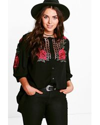 Boohoo   Black Plus Kady Embroidered Shirt   Lyst