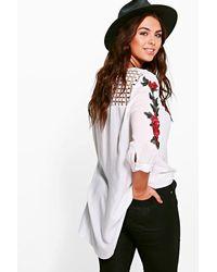 Boohoo - Black Plus Kady Embroidered Shirt - Lyst