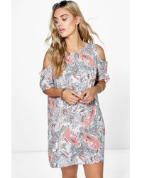 2dcbefe7101 Lyst - Boohoo Cari Floral Print Ruffle Neck Maxi Dress in White