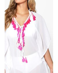 Boohoo - White Plus Kelly Bright Fringed & Beaded Kaftan - Lyst