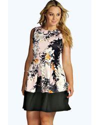Boohoo - Pink Plus Niamh Floral Pleat Skater Dress - Lyst