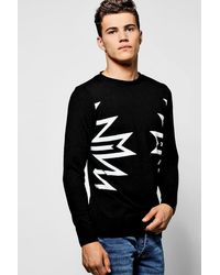 Boohoo - Black Intarsia Knit Bagel Neck Jumper for Men - Lyst