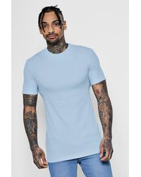 531bbc60 Boohoo Muscle Fit Ribbed T-shirt in Blue for Men - Lyst