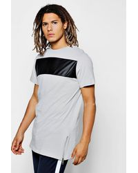 Boohoo - Gray Slim Fit T-shirt With Pu Panel And Side Zip for Men - Lyst
