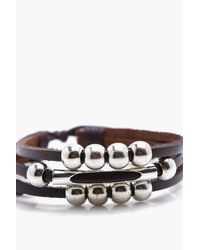 Boohoo - Brown Leather Bracelet With Beads for Men - Lyst