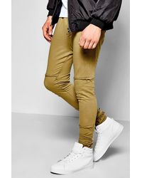 Boohoo | Green Skinny Fit Destroyed Joggers With Raw Edge for Men | Lyst