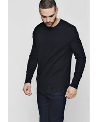 Boohoo - Black Long Sleeve Waffle Knit T-shirt for Men - Lyst