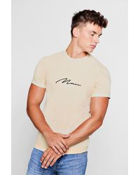 4a87d731 Lyst - Boohoo Man Signature Washed T-shirt in Natural for Men