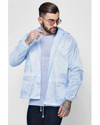Boohoo Blue Lightweight Zip Through Hooded Cagoule for men