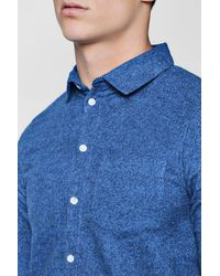 Boohoo - Blue Long Sleeve Melange Shirt for Men - Lyst