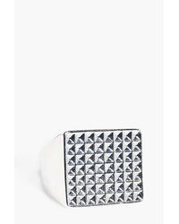 Boohoo - Metallic Textured Signet Ring for Men - Lyst