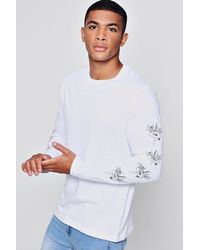 Boohoo - White Long Sleeve Crew Neck T-shirt With Sleeve Print for Men - Lyst