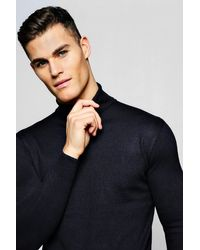 BoohooMAN Blue Pull Col Roulé for men