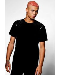 Boohoo - Black Skater Velour Studded T-shirt for Men - Lyst