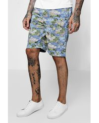 ad0a9313d67a3 Boohoo Navy Hawaiian Print Chino Short in Blue for Men - Lyst