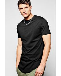 Boohoo - Black Longline Fishtail Hem T-shirt for Men - Lyst