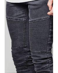 198b31197411b Lyst - Boohoo Black Skinny Fit Biker Jeans With Zip Cuff in Black ...
