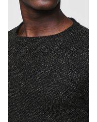 Boohoo - Black Boucle Fishtail Jumper for Men - Lyst