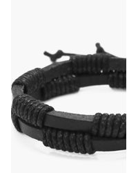 Boohoo - Black Double Layer Faux Leather Bracelet for Men - Lyst