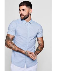 Boohoo - Blue Short Sleeve Horizontal Stripe Shirt In Muscle Fit for Men - Lyst