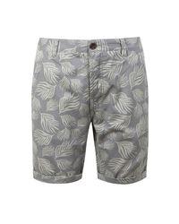 Boohoo - Gray Leaf Print Slim Fit Cotton Short for Men - Lyst