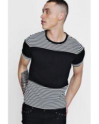 Boohoo - Black Slim Fit Colour Block Stripe T-shirt for Men - Lyst