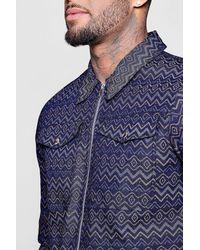 Boohoo Blue Aztec Harrington Jacket for men