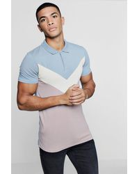 Boohoo - Blue Chevron Panel Muscle Fit Polo for Men - Lyst