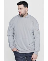 Boohoo - Gray Big & Tall Over The Head Distressed Hoodie for Men - Lyst