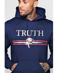 Boohoo - Blue Truth Foil Print Hoodie for Men - Lyst