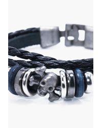 Boohoo - Black Buckle Detail Bracelet - Lyst