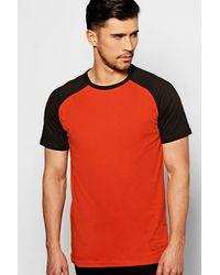 Boohoo - Orange Short Sleeve Raglan T Shirt for Men - Lyst