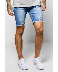Boohoo - Blue Skinny Stretch Biker Denim Shorts for Men - Lyst