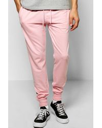 Boohoo - Pink Skinny Fit Joggers for Men - Lyst