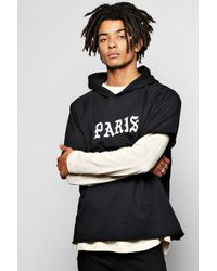 Boohoo - Black Short Sleeve Boxy Hoodie With Paris Prints for Men - Lyst