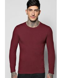 Boohoo - Red Long Sleeve Muscle Fit T Shirt for Men - Lyst