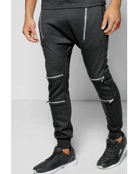 Boohoo | Black Skinny Fit Drop Crotch Biker Jogger for Men | Lyst