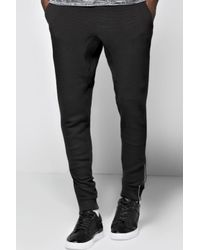 Boohoo - Black Skinny Joggers With Ankle Zips for Men - Lyst