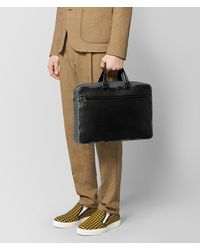 Bottega Veneta - Black Nero Calf/ardoise Intrecciato Nappa Briefcase for Men - Lyst