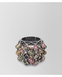 Bottega Veneta - Multicolor Ring In Silver And Tourmaline Stones With Yellow Gold Accents - Lyst
