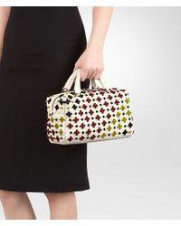 Bottega Veneta - Top Handle Bag In Mist Multicolor Embroidered Intrecciato Nappa - Lyst