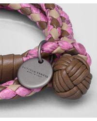 Bottega Veneta - Pink Bracelet In New Cigar And Mink Intrecciato Nappa And Peony Ayers - Lyst