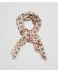 Bottega Veneta - Black Scarf In Cream Orange Cashmere Silk - Lyst