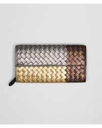 Bottega Veneta - Multicolor Continental Wallet In Gold Multi Intrecciato Glam Nappa - Lyst