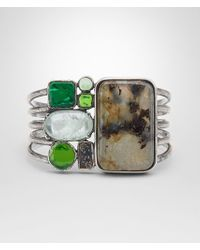 Bottega Veneta - Multicolor Bracelet In Multi Green Gemstones And Enamel Silver, Yellow Gold Accents - Lyst