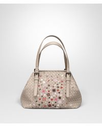 Bottega Veneta. Women s Mink Intrecciato Meadow Flower Small Cesta Bag 532e2da0fbab6