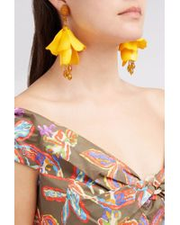 Oscar de la Renta | Yellow Impatiens Flower Drop Earrings | Lyst