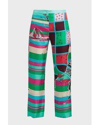 Emilio Pucci - Green Printed Silk-twill Wide-leg Trousers - Lyst
