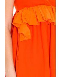 Victoria, Victoria Beckham - Orange Ruffle Front Dress - Lyst
