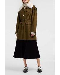 Rejina Pyo | Green Kriss Faux Fur-trimmed Cotton-drill Coat | Lyst